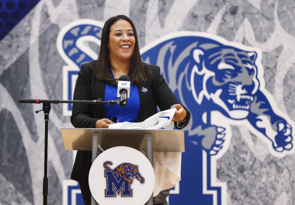<strong>New University of Memphis women&rsquo;s basketball head coach Katrina Merriweather is introduced during a press conference on Tuesday, March 30, 2021 at the Elma Roane Fieldhouse.</strong> (Mark Weber/The Daily Memphian)