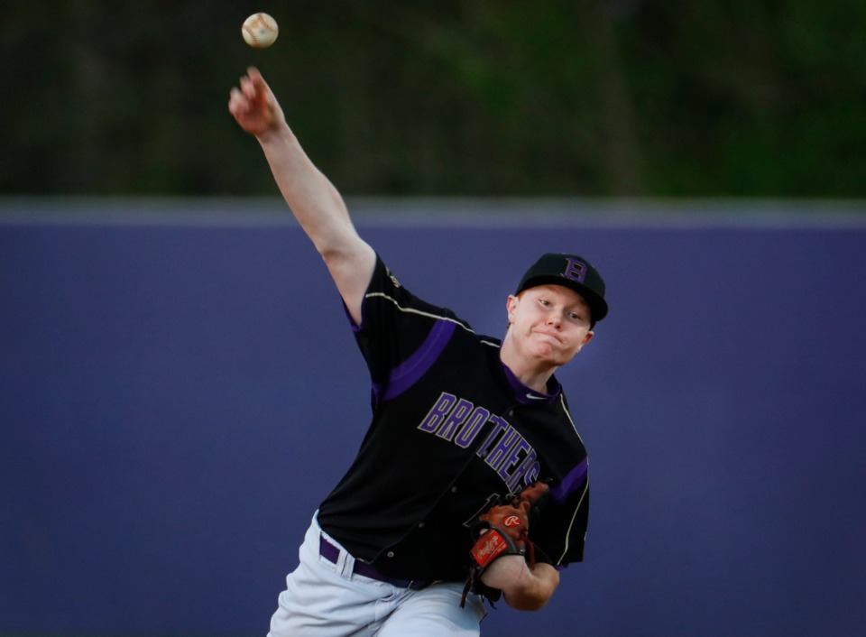 <strong>CBHS starting pitcher Samuel Brumbaugh makes a throw to home plate during action against MUS on Monday, March 29, 2021.</strong> (Mark Weber/The Daily Memphian)