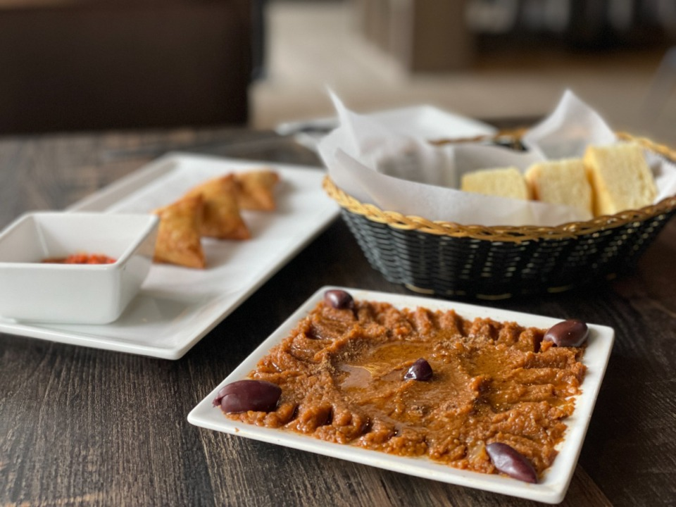 <strong>Briouat, a savory puff pastry, and eggplant puree are two of the appetizers available at Andalusia.</strong> (Jennifer Biggs/Daily Memphian)