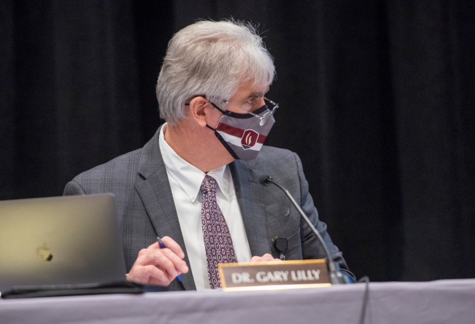 <strong>Collierville Schools superintendent Dr. Gary Lilly at a Board of Education meeting, February 24, 2021.</strong> (Greg Campbell/Special for The Daily Memphian file)