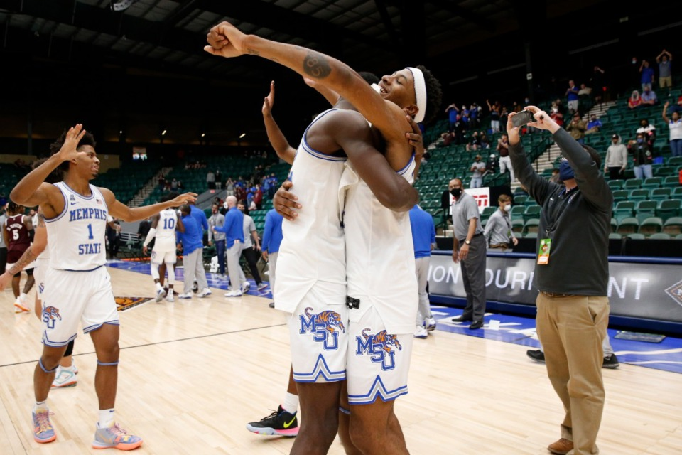 <strong>Memphis basketball players celebrate after defeating Mississippi State at the NIT basketball tournament March 28, 2021</strong>. (Courtesy NCAA)