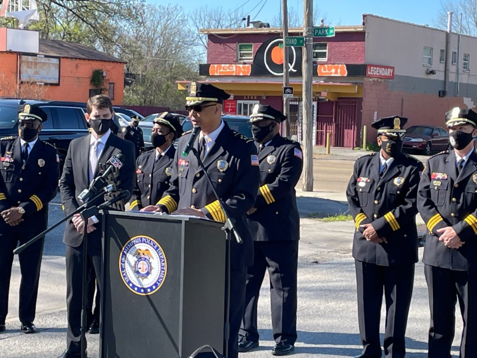 <strong>Memphis Police Director Michael Rallings announced Thursday, April 1, that the city will use the ShotSpotter surveillance system in high-crime areas to locate the direction of gunshots. The first sensor was installed in the Orange Mound area Wednesday, March 31, and Rallings said it detected shots within an hour of installation.</strong>&nbsp;(Yolanda Jones/Daily Memphian)