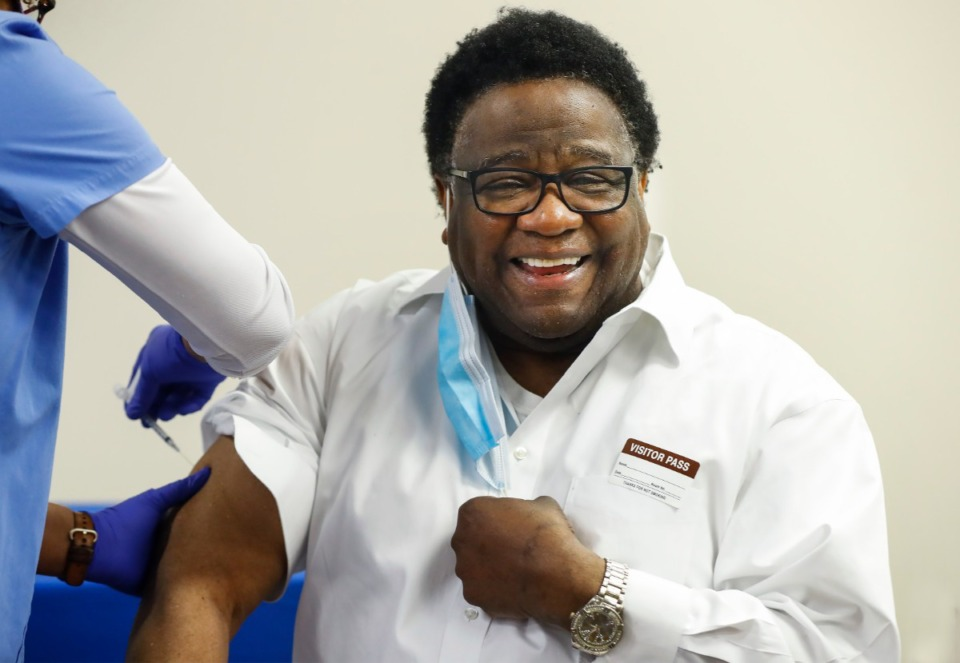 <strong>Legendary singer and local pastor Al Green receives his second dose of the Moderna vaccine on Thursday, April 1, at Saint Francis Hospital-Memphis.</strong> (Mark Weber/The Daily Memphian)