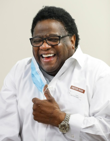 <strong>Al Green jokes with members of the media after receiving his second dose of the Moderna vaccine on Thursday, April 1.</strong> (Mark Weber/The Daily Memphian)