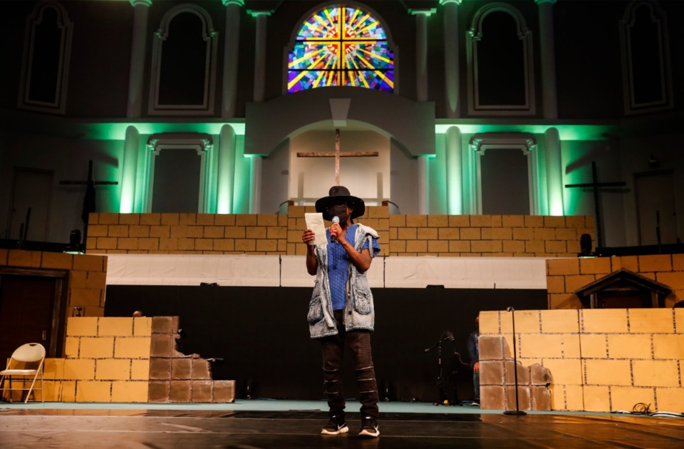 <strong>Brown Missionary Baptist Church singer Zephaniah Dixon rehearses for his solo in the upcoming Easter service on Tuesday, March 30, 2021 in Southaven.</strong> (Mark Weber/The Daily Memphian)