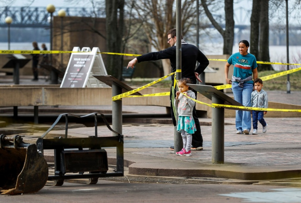 <strong>Mud Island visitors look at renovation work of the Riverwalk on Monday, March 22, 2021.</strong>&nbsp;(Mark Weber/The Daily Memphian)