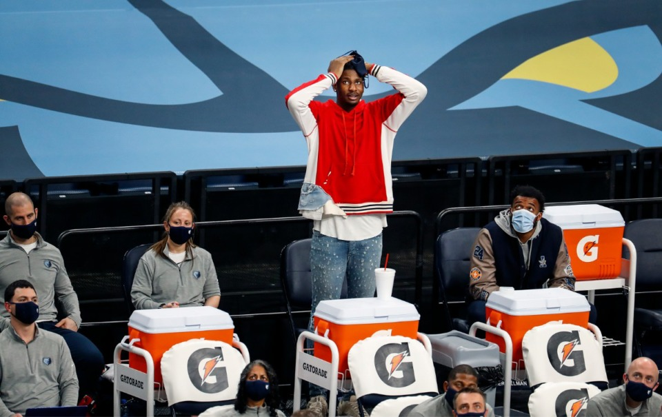 <strong>Injured Memphis Grizzlies center Jaren Jackson Jr. watches from the bench during a 122-112 loss to the Atlanta Hawks on Saturday, Dec. 26, 2020.</strong> (Mark Weber/The Daily Memphian)