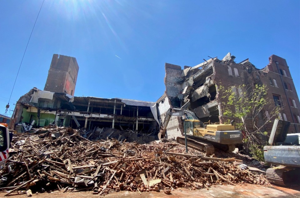 <strong>Much of the front of the historic Nylon Net Building had already been demolished by Thursday, April 2.</strong> (Tom Bailey/Daily Memphian)