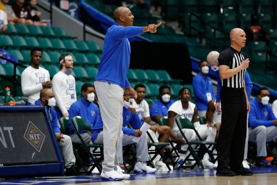 <strong>Coach Penny Hardaway guides his players during the NIT basketball tournament March 28, 2021.</strong> (Courtesy NCAA)