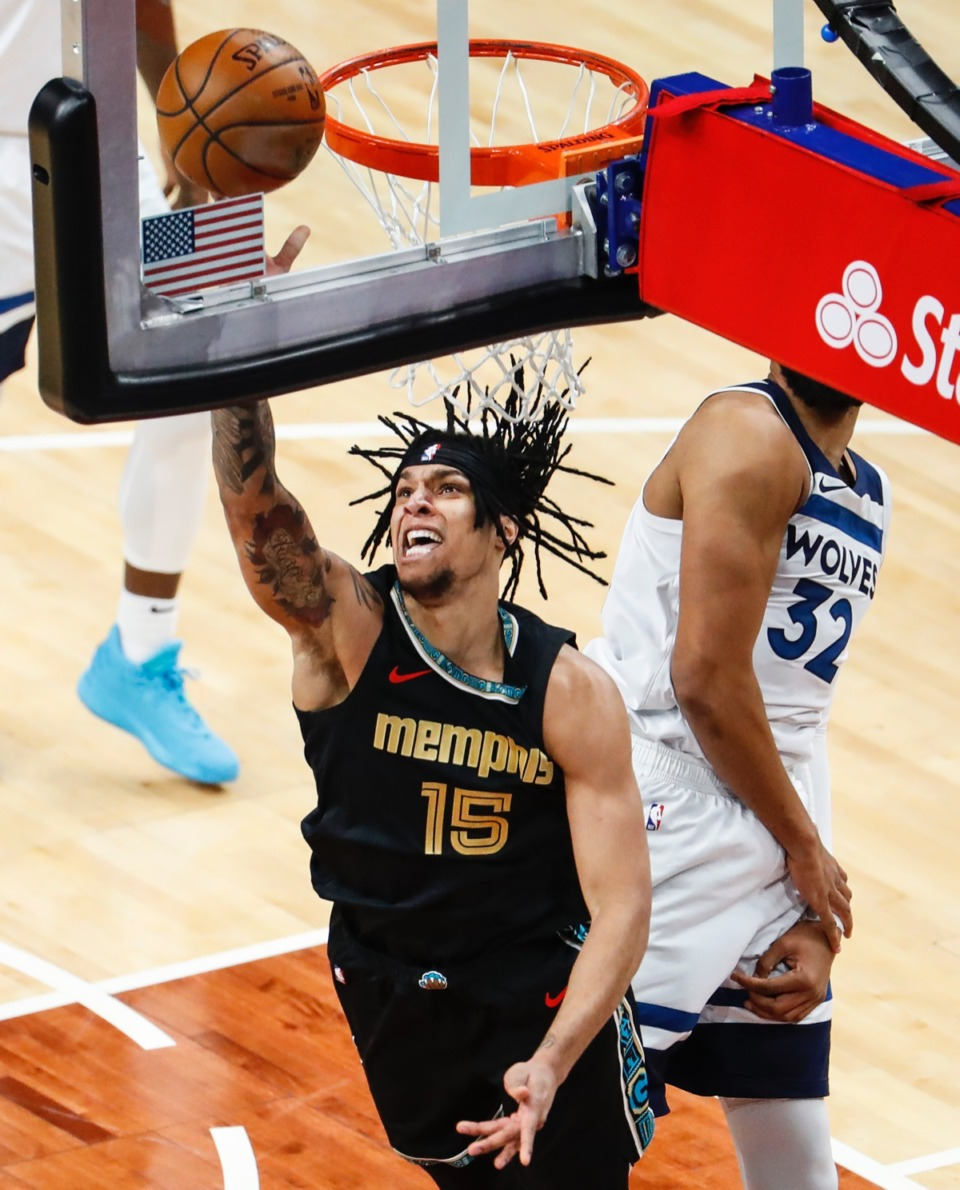 <strong>Grizzlies forward Brandon Clarke goes for a layup against the Minnesota Timberwolves on April 2.</strong> (Mark Weber/The Daily Memphian)