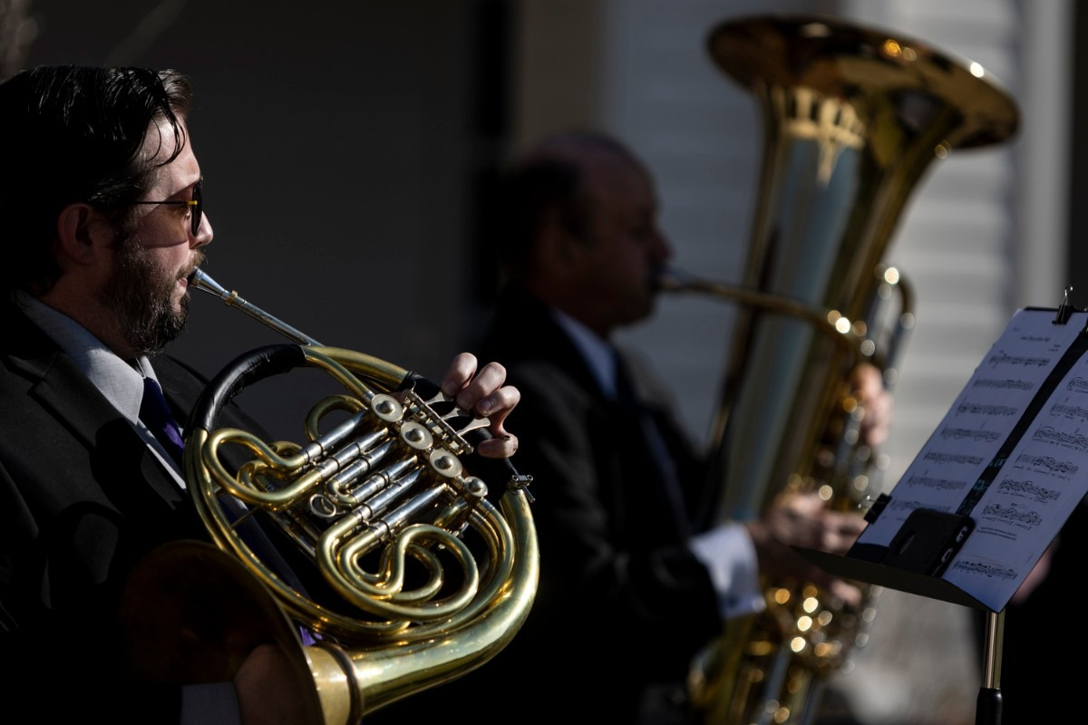 <strong>Dr. Robert Fant plays a French horn with a brass quintet during the St. George&rsquo;s Episcopal Church outdoor Easter service in Germantown.</strong> (Brad Vest/Special to The Daily Memphian)