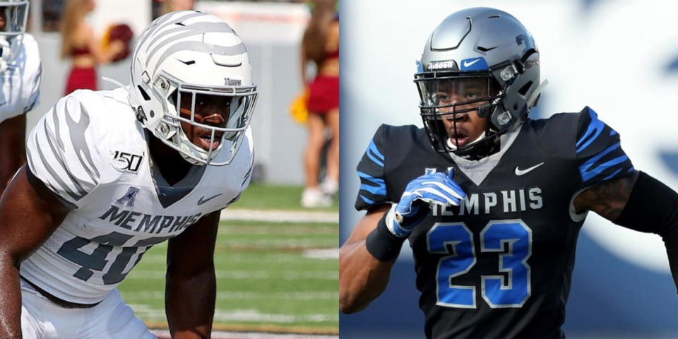 <strong>Thomas Pickens (left) and JJ Russell, the two linebackers who will form the nucleus of the back seven, are staying for the Tigers&rsquo; 2021 season.</strong> (Photos courtesy University of Memphis Athletics)