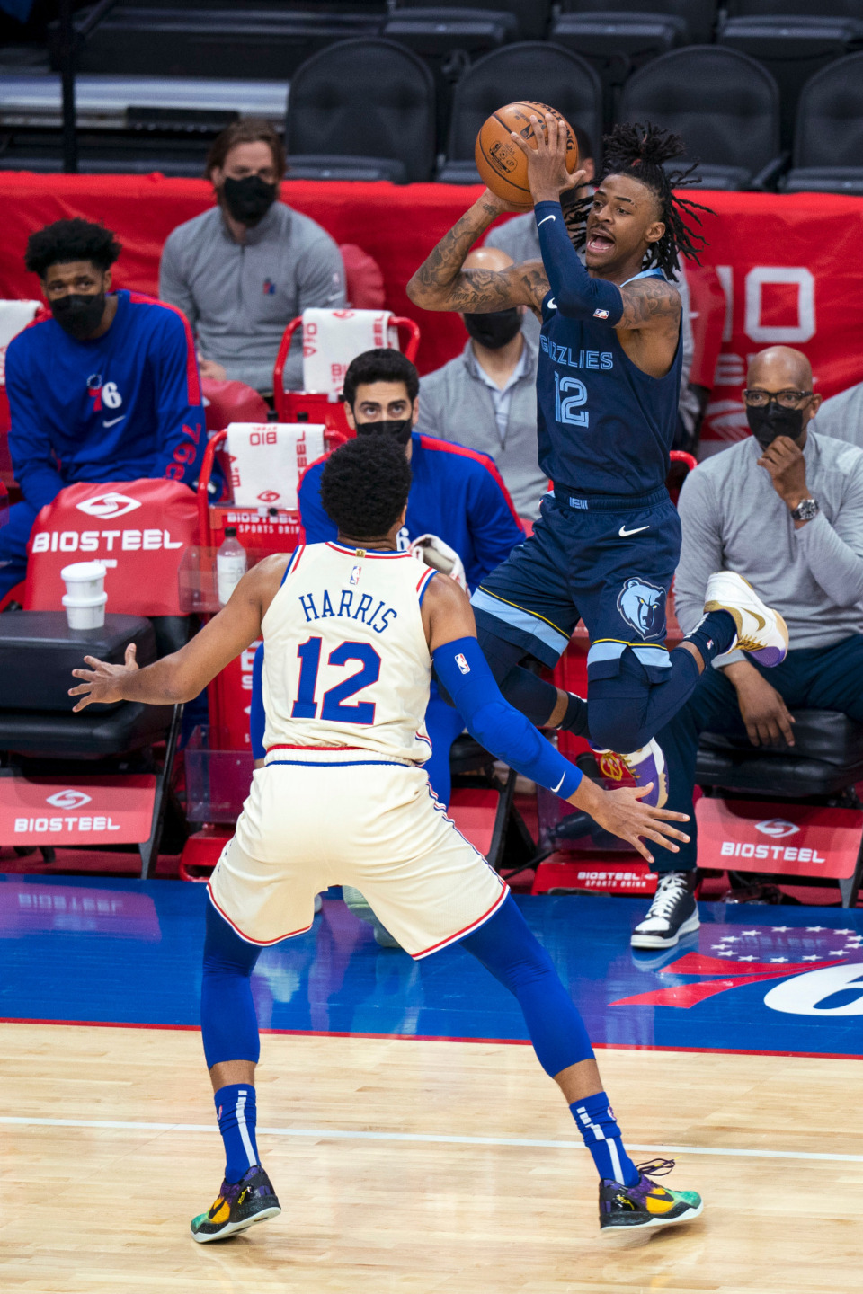 <strong>Memphis Grizzlies' Ja Morant shoots a 3-pointer with Philadelphia 76ers' Tobias Harris, left, defending during the first half of an NBA basketball game Sunday, April 4, 2021, in Philadelphia.</strong> (AP Photo/Chris Szagola)