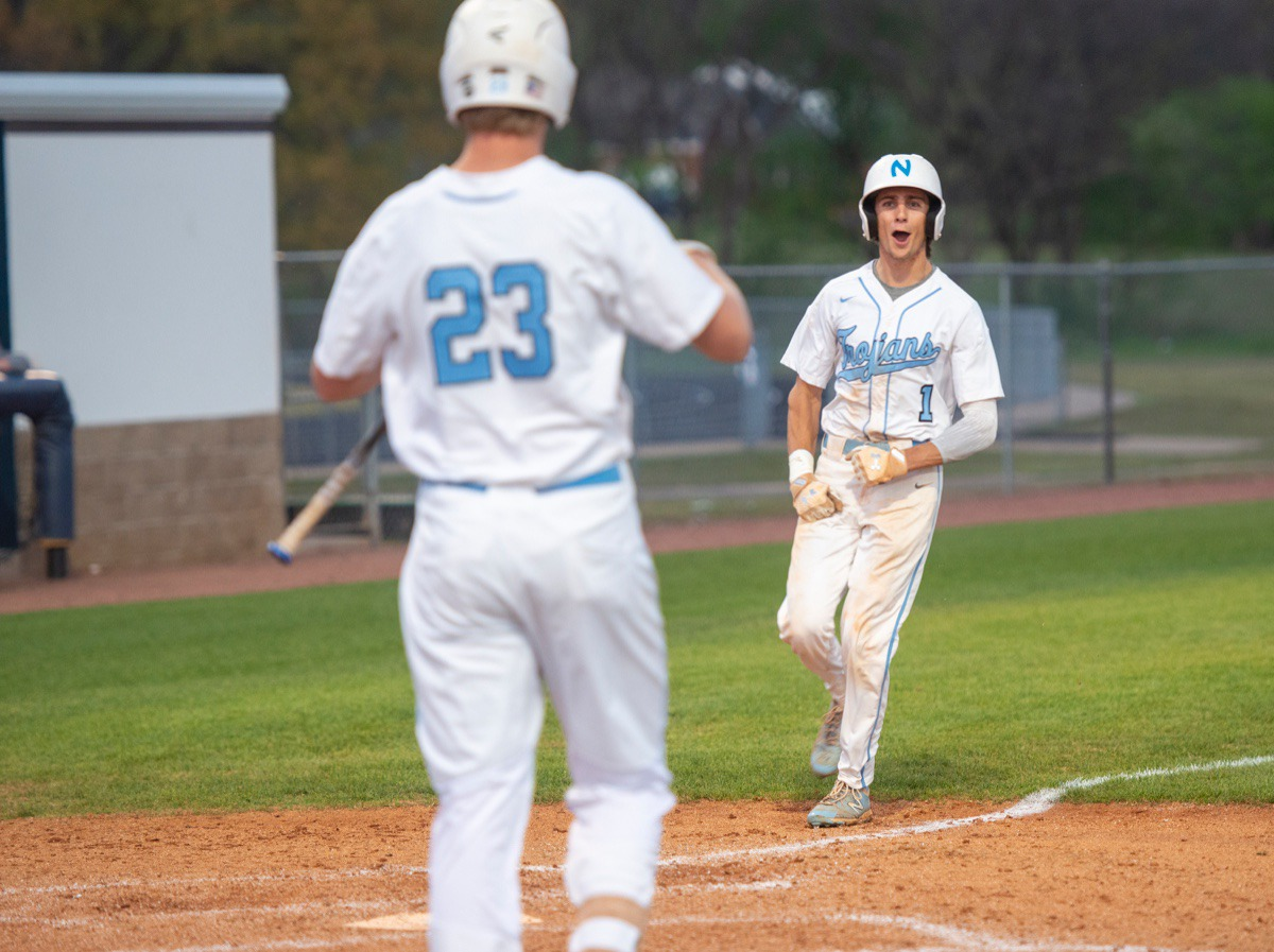<strong>Northpoint Christian School's Anthony Zarlingo (1) runs home after a wild pitch against FACS in Monday's contest in Southaven.</strong> (Greg Campbell/Special to The Daily Memphian)