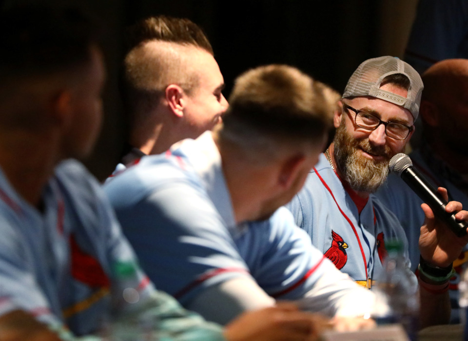 <strong>Jason Motte (right), former pitcher for the Memphis Redbirds, smirks at some teammates while answering a question from the audience at the Cardinals Caravan event in AutoZone Park Friday, Jan. 18, 2019.&nbsp;Earlier in the day, the Redbirds announced Memphis will host the 2019 Triple-A Championship and that Germantown native Ben Johnson will become the team's manager.</strong> (Houston Cofield/Daily Memphian)