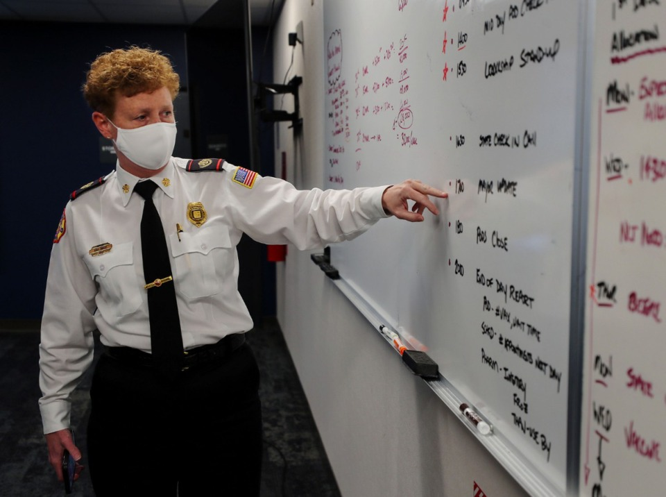 <strong>Memphis Fire Department director Gina Sweat goes over vaccination numbers at the office of emergency management headquarters March 16, 2021.</strong> (Patrick Lantrip/Daily Memphian)