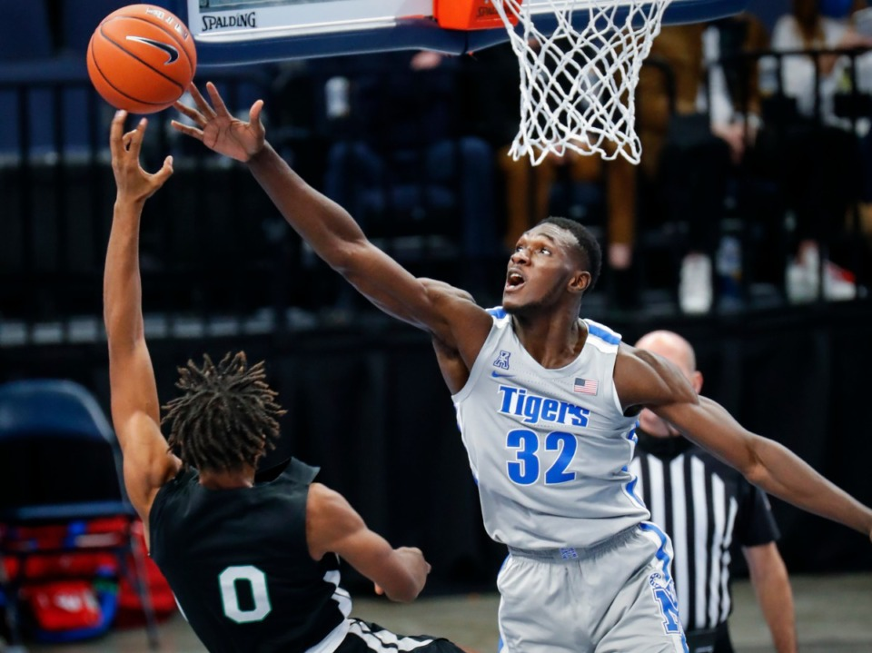 <strong>Memphis center Moussa Cisse (right) tries to block the shot of Mississippi Valley State guard Treylan Smith (left) during action on Tuesday, Dec. 8, 2020.</strong> (Mark Weber/The Daily Memphian)