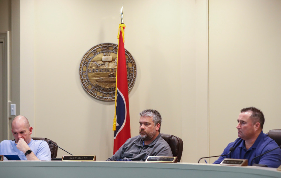 <strong>The Arlington Board of Mayor and Aldermen unanimously approved the one-year moratorium of gas stations at its Monday night meeting.&nbsp;Alderman (left to right) Russell Wiseman and Jeff McKee and Mayor Mike Wissman (in file photo from March 2, 2020) attend a Board of Mayor and Aldermen meeting.</strong> (Mark Weber/Daily Memphian file)
