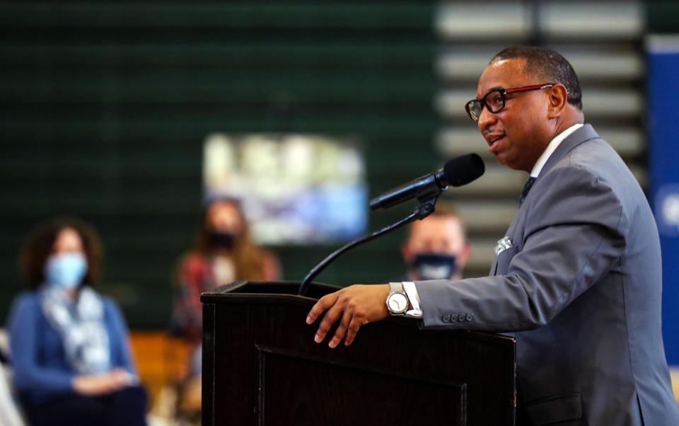 <strong>Shelby County Schools superintendent Joris Ray speaks at Booker T. Washington High School on April 6, 2021.</strong> (Patrick Lantrip/Daily Memphian)