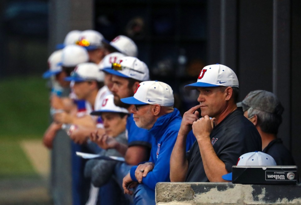 <strong>The MUS bench watches from the dugout on April 6 at a home game against St. Benedict.</strong> (Patrick Lantrip/Daily Memphian)