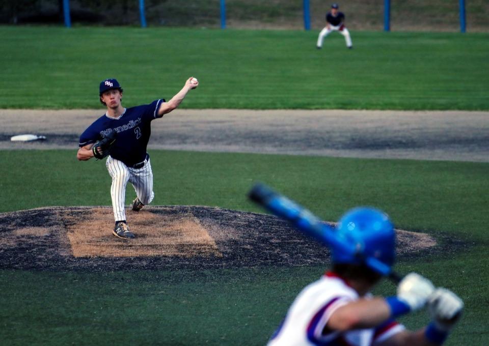 <strong>St. Benedict pitcher Luke Ellis (2) pitches against MUS on April 6.</strong> (Patrick Lantrip/Daily Memphian)
