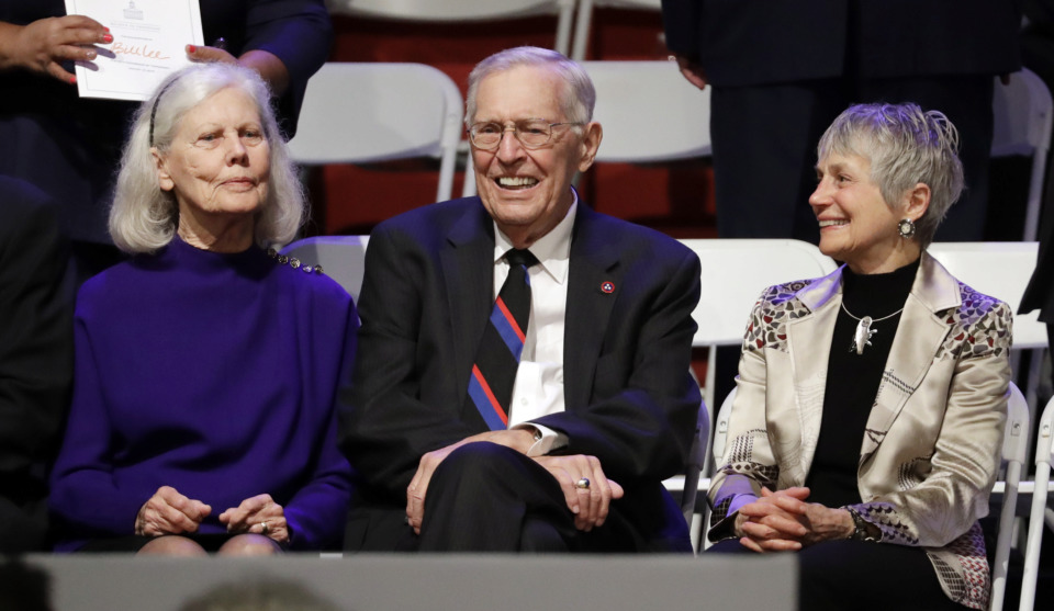 <strong>Former Tennessee Gov. Don Sundquist, center, sits with his wife, Martha, left, and Andrea Conte, right, wife of former Gov. Phil Bredesen, before the inauguration of Gov.-elect Bill Lee in War Memorial Auditorium Saturday, Jan. 19, 2019, in Nashville, Tenn.</strong> (AP Photo/Mark Humphrey)