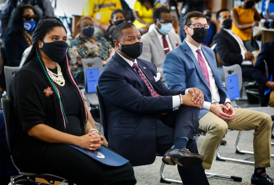 <strong>Shelby County Schools Superintendent Joris M. Ray (middle) attends a ceremony for the new Alcy Elementary School building.</strong> (Mark Weber/The Daily Memphian)