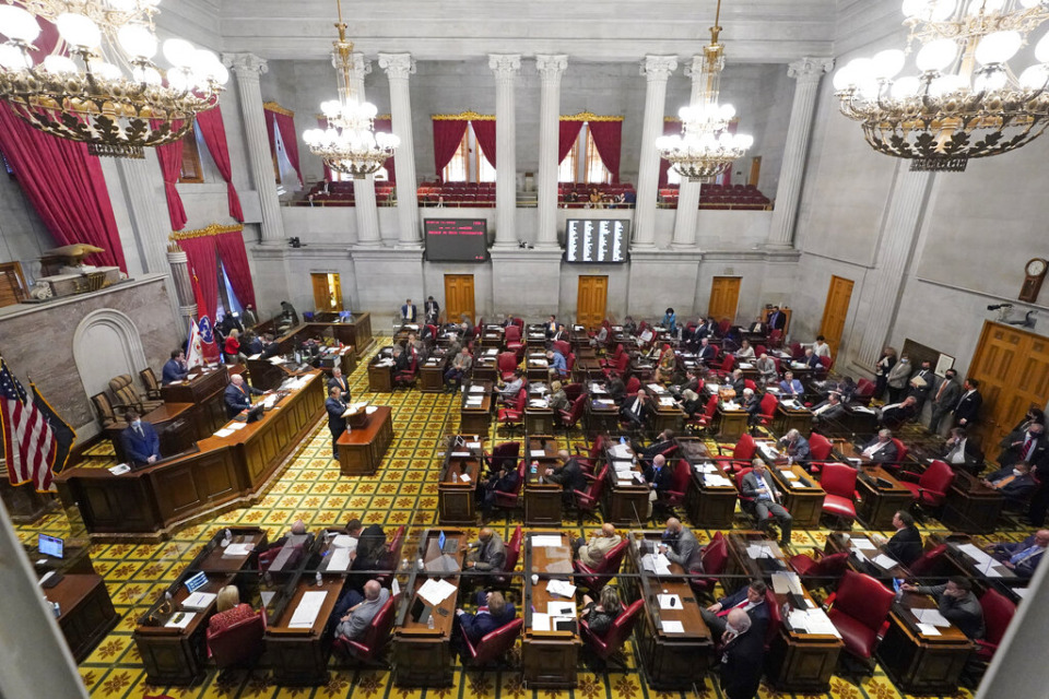 <strong>Members of the Tennessee House debate a bill allowing most adults to carry handguns without obtaining a permit March 29, 2021 in Nashville.</strong> <strong>Gov. Bill Lee signed the measure into law on April 8.</strong> (AP File/Mark Humphrey)