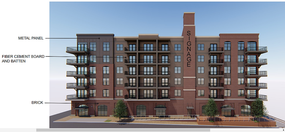 <strong>The Design Review Board rejected this design, with members saying it does not fit with the South Main historic warehouse district.</strong> (Courtesy Studio Architects)