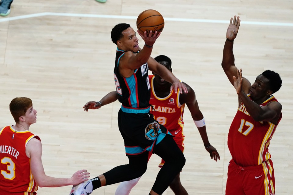 <strong>Grizzlies guard Desmond Bane (22) goes in for a basket against Atlanta on April 7. The 131-113 win put an exclamation point on the Memphis win streak.</strong> (John Bazemore/AP file)