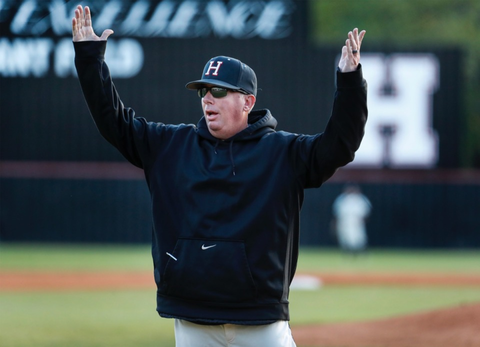 <strong>Houston head coach Lane McCarter reacts to an umpire&rsquo;s&nbsp;call in the game against Collierville on April 8.</strong> (Mark Weber/The Daily Memphian)