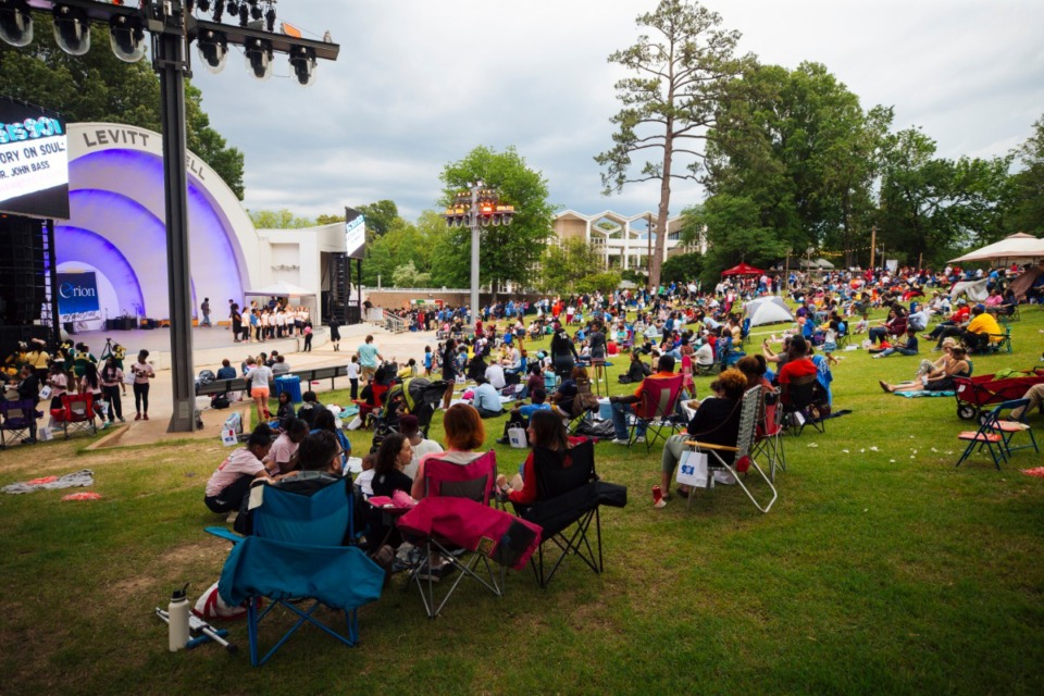<strong>Families, faculty, and students gather at the Levitt Shell in Overton Park in 2019 for a Shelby County Schools event.</strong> (Ziggy Mack/Daily Memphian file)
