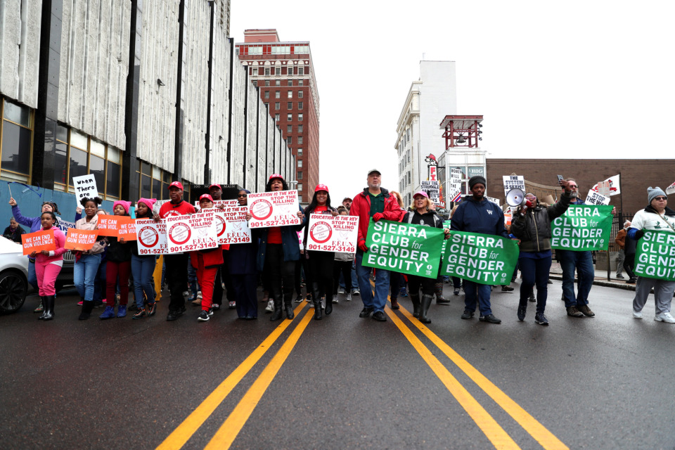 <strong>Around 200 protesters march down Adams Street Saturday, Jan. 19, 2019, as they make their way toward the courthouse in Downtown Memphis.</strong> (Houston Cofield/Daily Memphian)