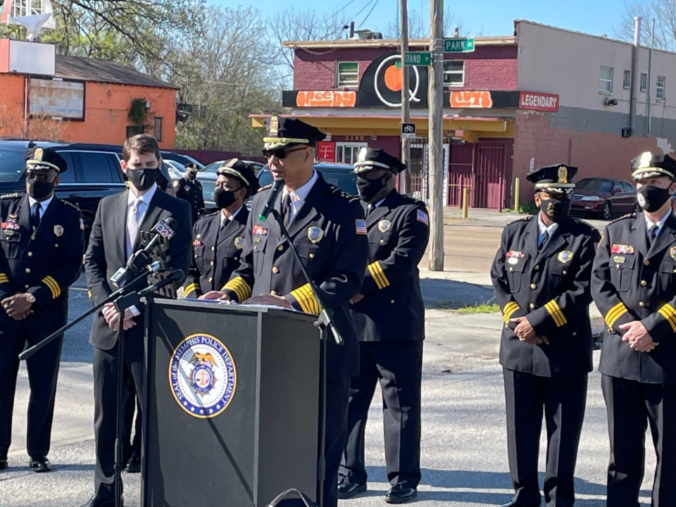 <strong>Memphis Police Director Michael Rallings announces&nbsp;on April 1 the ShotSpotter surveillance system that will locate the direction of gunshots in high-crime areas.</strong>&nbsp;(Yolanda Jones/Daily Memphian)