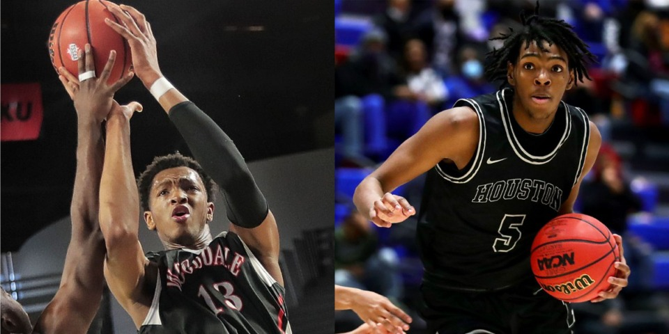 <strong>LEFT: Chandler Lawson played for Wooddale High in the TSSAA Class AA state basketball finals game against Knoxville Fulton at MTSU in Murfreesboro on March 16, 2019.</strong> (Jim Weber/Daily Memphian file) <strong>RIGHT:&nbsp;Houston High School forward Johnathan Lawson brings the ball up the court during a Jan. 22, 2021 game against Bartlett High School.</strong> (Patrick Lantrip/Daily Memphian file)