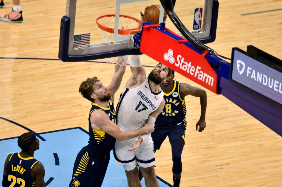 <strong>Memphis Grizzlies center Jonas Valanciunas (17) shoots against Indiana Pacers forward Domantas Sabonis (11) in an NBA basketball game Sunday, April 11, 2021, at FedExForum.</strong> (Brandon Dill/AP)