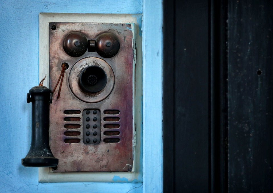 <strong>A antique intercom system connects many of the rooms in the Masonic Lodge on Court Avenue.</strong> (Jim Weber/Daily Memphian file)