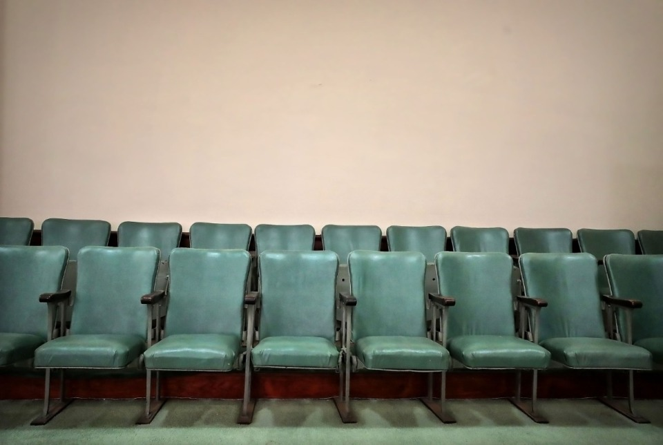 <strong>A room formerly used by the Order of the Eastern Star sits empty in the Masonic Lodge on Court Avenue.</strong> (Jim Weber/Daily Memphian file)