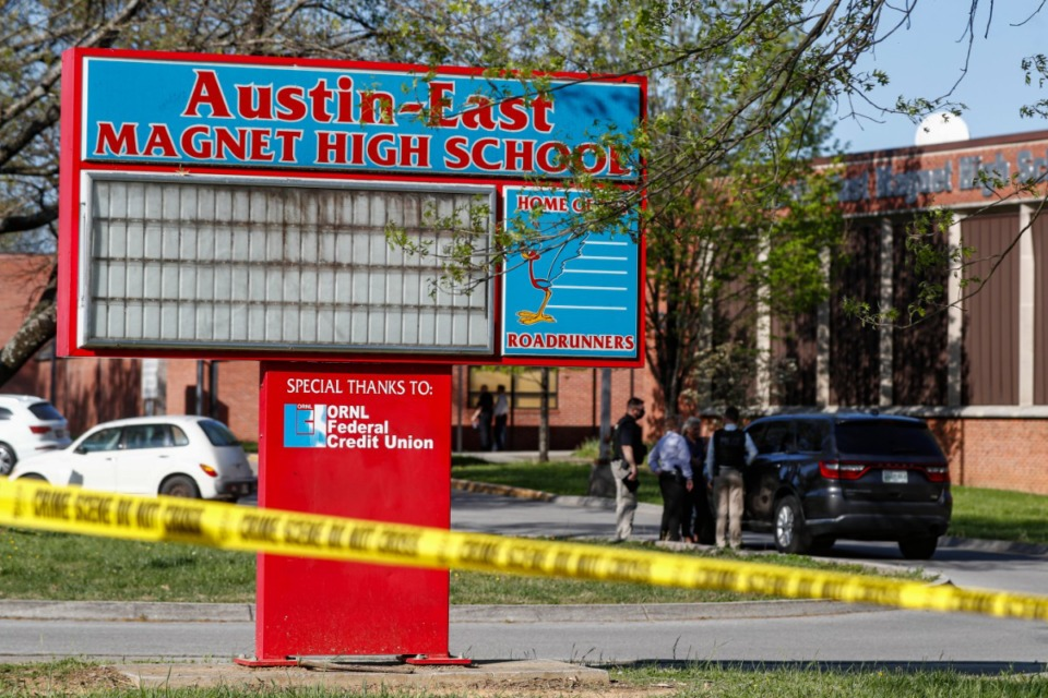 <strong>Knoxville police work the scene of a shooting at Austin-East Magnet High School Monday, April 12, in Knoxville. The Tennessee House decided to delay making the state a&nbsp;&ldquo;State Amendment Sanctuary.&rdquo;</strong> (Wade Payne/Associated Press)