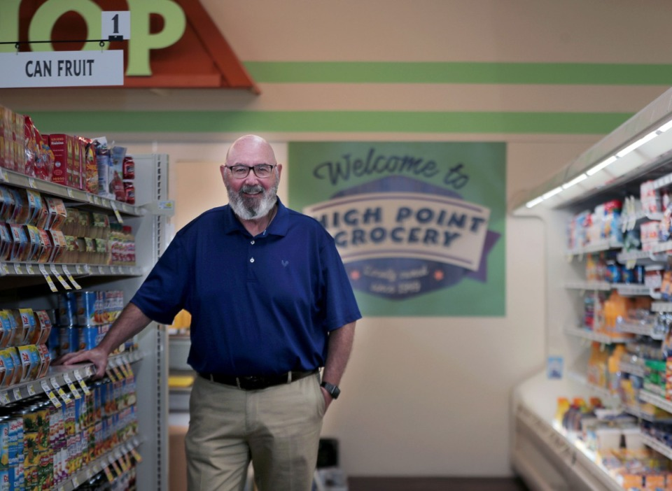 <strong>High Point Grocery owner Rick James posed for a portrait inside his new store last August.</strong> (Patrick Lantrip/Daily Memphian file)