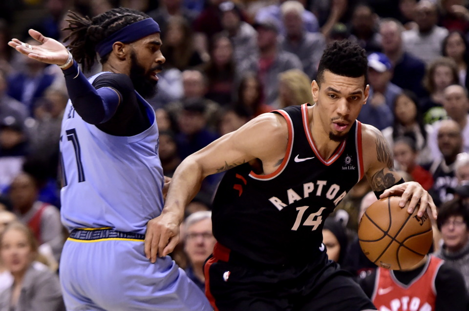 <span><strong>Toronto Raptors guard Danny Green (14) makes his way down the court past Memphis Grizzlies guard Mike Conley (11) during the first half of an NBA basketball game in Toronto on Saturday, Jan. 19, 2019.</strong> (Frank Gunn/The Canadian Press via AP)</span>