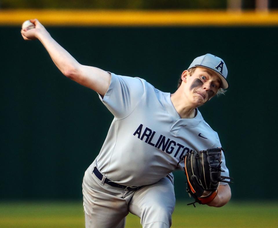 <strong>Arlington pitcher Connor McCaslin throws against Collierville on April 13.</strong> (Patrick Lantrip/Daily Memphian)