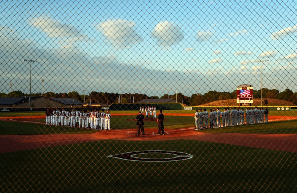 <strong>Collierville High School christened its new baeball diamond before the April 13 game against Arlington.</strong> (Patrick Lantrip/Daily Memphian)