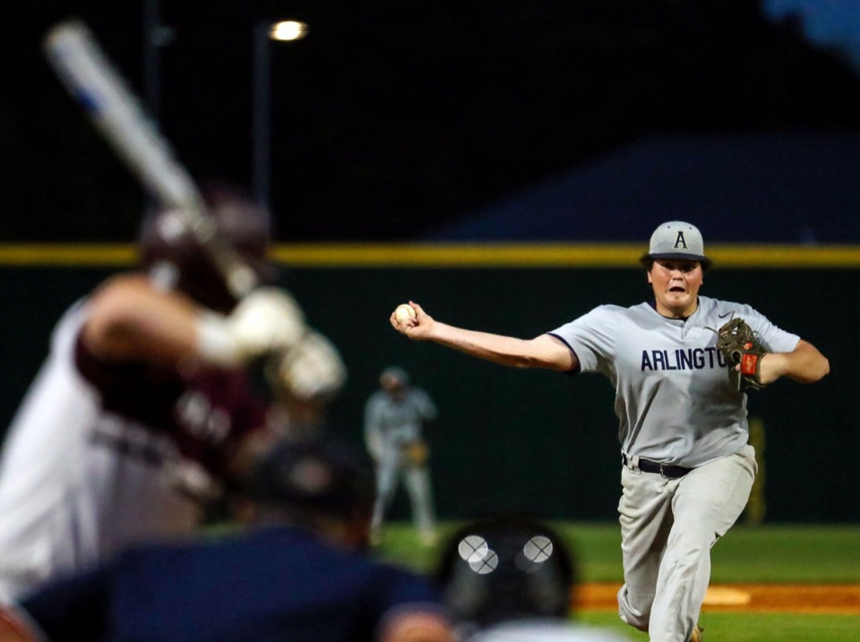 <strong>Arlington pitcher Aidan Ludwig (15) throws a pitch on April 13 in the game against Collierville.</strong> (Patrick Lantrip/Daily Memphian)