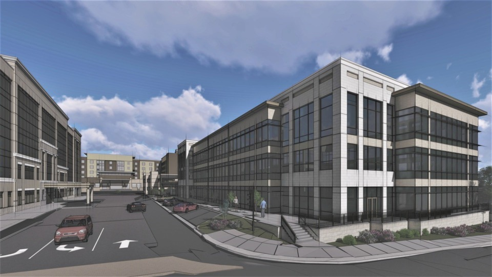 <strong>TraVure could ask the city for approval for an office building on the west side of its property, as pictured in this rendering. Currently, developers have approval for a 34,100-square-foot office and retail building on the western edge of the property.</strong> (Submitted)