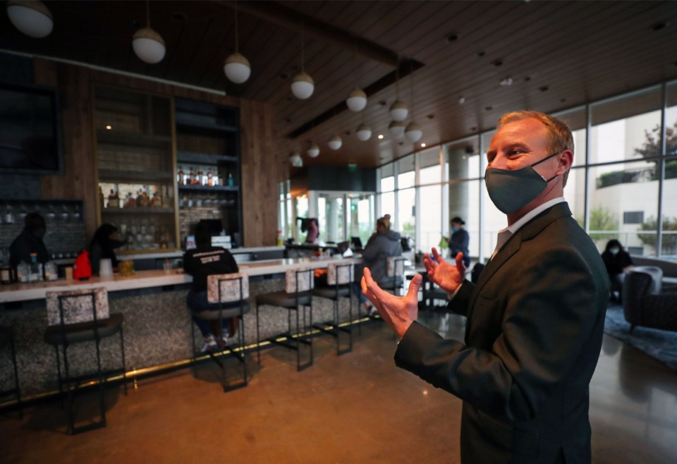 <strong>Nick Janysek, director of sales, marketing and events, shows off the lobby bar at the new Hyatt Centric hotel on Beale Street April 14, 2021.</strong> (Patrick Lantrip/Daily Memphian)