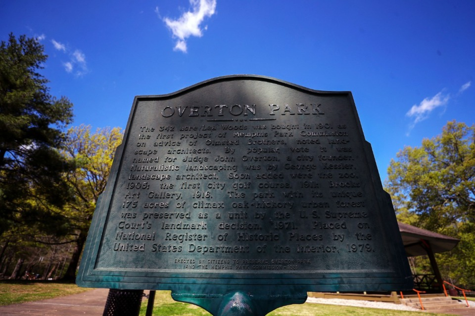 <strong>A marker commemorating the battle to save Overton Park from an encroaching Interstate 40 sits along the park's eastern edge.</strong> (Patrick Lantrip/Daily Memphian)