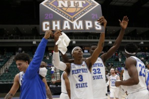 <strong>Landers Nolley II (3) and the Memphis Tigers celebrate winning the NIT championship on March 28. Nolley will be returning for the coming season.</strong> (Courtesy of NCAA)