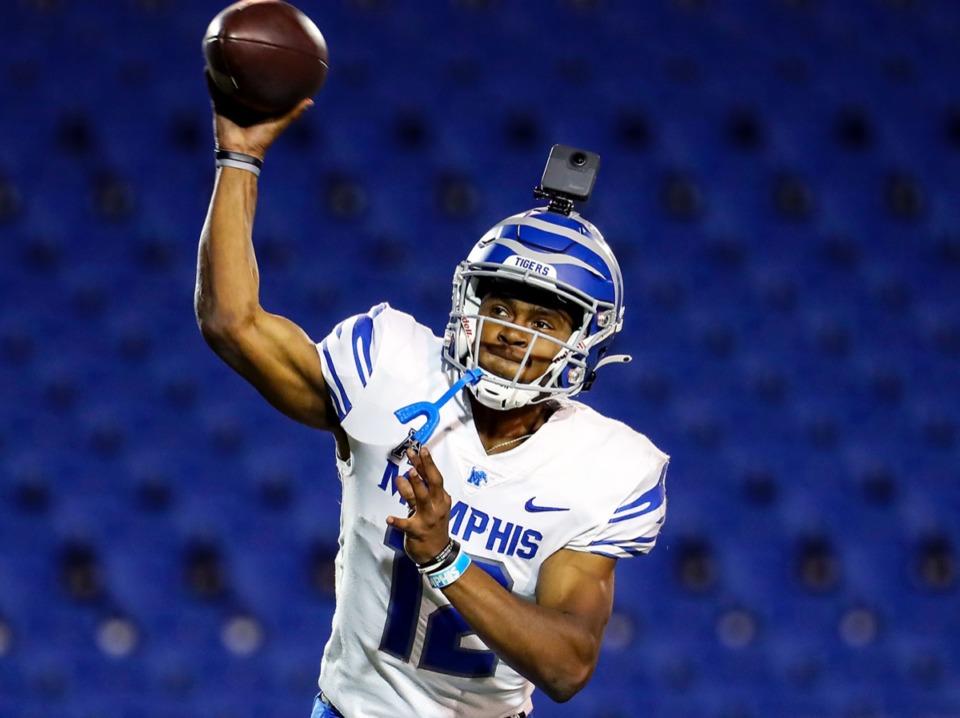 <strong>University of Memphis quarterback Keilon Brown (12) passes during the Tigers&rsquo; spring game at the Liberty Bowl April 16.</strong> (Patrick Lantrip/Daily Memphian)