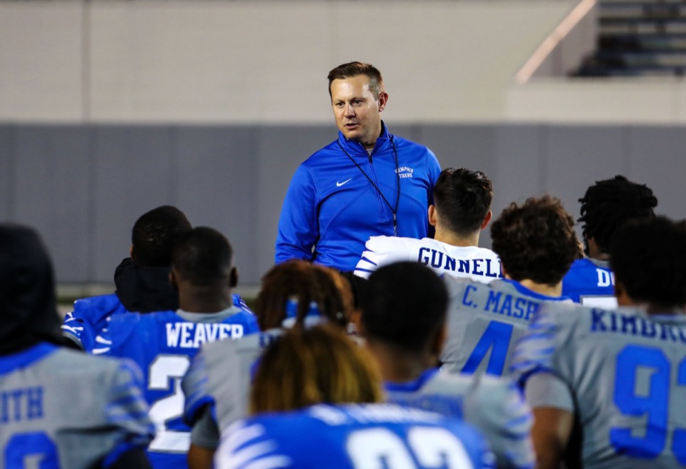 <strong>University of Memphis head coach Ryan Silverfield addresses his team after Friday Night Lights at the Liberty Bowl April 16.</strong> (Patrick Lantrip/Daily Memphian)